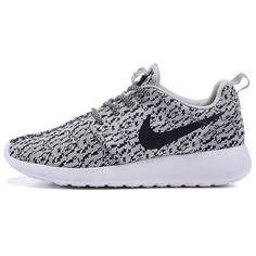 Custom Nike Roshe Run One Yeezy 350 Athletic Running Shoes as Is or... ($116) ❤ liked on Polyvore featuring shoes, sneakers, nike, flats, silver, sneakers & athletic shoes, tie sneakers, women's shoes, silver grey shoes and silver shoes
