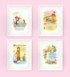 4 Nursery Rhyme Prints Hey Diddle Jack Jill Crooked Man 8x10 Fairytale Ilrations For Babys Bedroom Full Color Storybook Plates