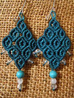 Macrame handmade earings & semiprecious gemstones. $18,00, via Etsy.