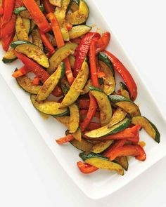 Zucchini, Bell Pepper, and Curry Paste Recipe | Martha Stewart Living — For a fast, flavorful side, try this saute of summer staples and fragrant store-bought curry paste.