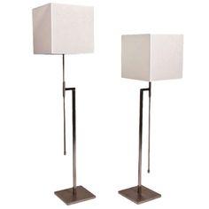 Pair of Polished Nickel Telescope Floor Lamps by Laurel