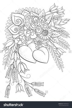 Coloring Book For Adult And Older Children Page Valentines Day