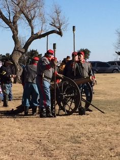 Shooting the cannon at Fort Reno - A Christmas tradition.