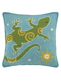 Gecko With Sun Hand-Hooked Pillow from Fall Trend: Southwest-Inspired Pillows on Gilt