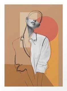 Minimalist Girl 2 by Collage Design, Collage Art, Art Sketches, Art Drawings, Photographie Portrait Inspiration, Abstract Line Art, Surreal Art, Geometric Art, Portrait Art