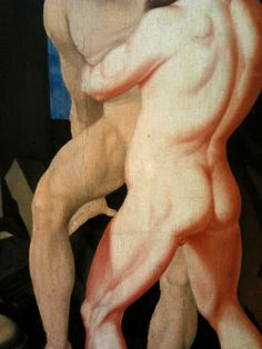 """Heracles and Antaeus by Hans Baldung, 1530, National Museum in Warsaw. Displayed during 2010 temporary exhibition of homoerotic art """"Ars Homo Erotica"""" in the National Museum in Warsaw. #nationalmuseuminwarsaw #artinpl #detail #heracles #antaeus #hercules #hansbaldung #wrestling #nude #male #homoeroticism #homoerotic #renaissance National Museum, Hercules, Gay Art, Renaissance, Mythology, Warsaw, Statue, Detail, Erotica"""