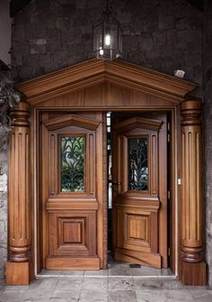 House Front Door Design Idea, Get some front door design ideas with help of The Architecture Designs. Visit our website for more ideas. Wooden Front Door Design, Double Door Design, Wood Front Doors, Wooden Doors, Entry Doors, Main Entrance Door, Pine Doors, Home Door Design, Door Gate Design