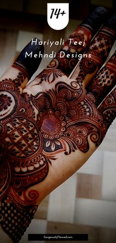Find a suitable mehndi design for the teej festival with this list of trendy hariyali teej mehndi designs & sindhara mehndi designs that you can try out this year! Henna Hand Designs, Eid Mehndi Designs, Round Mehndi Design, Mehndi Designs Finger, Peacock Mehndi Designs, Latest Arabic Mehndi Designs, Mehndi Designs For Girls, Mehndi Designs For Beginners, Stylish Mehndi Designs