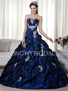 Woah look at that color  Royal Blue Ball Gown Long Taffeta Sweetheart Corset Wedding Dress - Style W0385 - Snowy Bridal