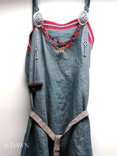 blue linen Viking Apron dress (Smokker, Hangerock)