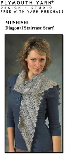 Diagonal Staircase Scarf in Plymouth Mushishi - F414. Discover more Patterns by Plymouth Yarn at LoveKnitting. The world's largest range of knitting supplies - we stock patterns, yarn, needles and books from all of your favorite brands.