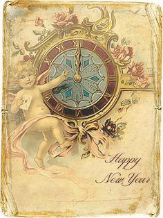JanetK.Design Free digital vintage stuff: Happy New Year Cards/Tags deel 1