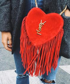 It's not Valentines yet but I'm going crazy over this YSL heart bag. It's the perfect purse for date night. Fashion Bags, Fashion Accessories, Womens Fashion, Fashion Handbags, Fashion Purses, Trendy Accessories, Red Fashion, Handbag Accessories, Street Fashion