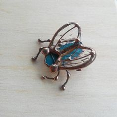 Cute Fly Brooch Fly Pin Stained Glass botanical jewelry