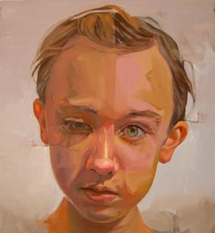 """""""Slip"""" - Jeff Huntington, 2011 {contemporary #expressionist abstract art male head child boy face profile portrait painting} Strabismus!!"""