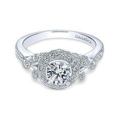 14k White Gold Empire Engagement Ring with Halo by Gabriel & Co. #ER4156W44JJ