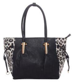 Black/Leopard Pattern~Leatherette~Tote Bag~Handbag~Satchel~Purse~Rockabilly~Punk #Unbranded #SatchelToteBag