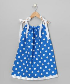 Take a look at this Royal Blue & White Polka Dot Swing Dress by Cozy Bug on #zulily today!