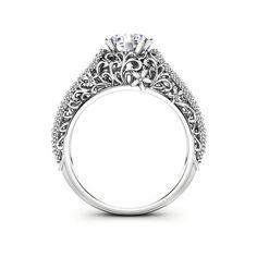 Vintage Engagement Rings, Vintage Rings, Vintage Diamond, Filigree Engagement Ring, Solitaire Engagement, Forever Brilliant Moissanite, Moissanite Rings, Ring Verlobung, Diamond Shapes