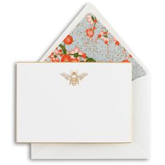 Engraved gold bee stationery