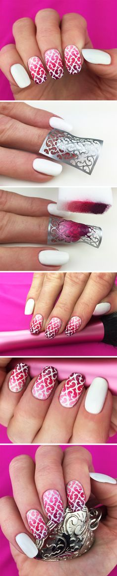 Love the technique, not so much the color & stencil combo they chose. Nail Stencils design  #nailart