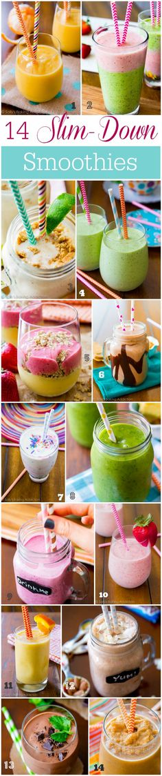 14 Slim-Down Smoothies. - Sallys Baking Addiction 14 Slim Down Smoothies that keep you feeling energized, satisfied, and on track! Smoothie Drinks, Healthy Smoothies, Healthy Drinks, Smoothie Recipes, Healthy Snacks, Eating Healthy, Nutribullet Recipes, Green Smoothies, Smoothie Detox