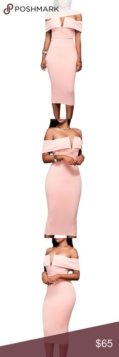 Pastel Pink Off The Shoulder Sexy Midi Dress Brand new. Zips up the back. Dresses Midi