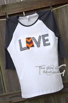Custom Applique Women's Raglan Sleeve Auburn Love by TheCityGate, $26.00