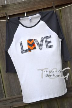 "Custom Applique Women's Raglan Sleeve ""Auburn Love"" T-Shirt on Etsy, $26.00"