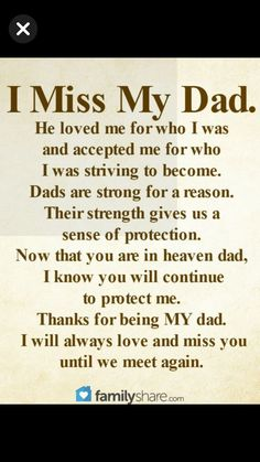 Although Dad died in 1976 at the age of 45 because of a massive heart attack, I still miss him to this day.Mom missed him a lot and never was the same after that. Funeral Poems For Dad, Dad Poems, Miss My Daddy, Rip Daddy, Miss You Dad Quotes, Daughter Quotes, Thank You Dad, I Love My Dad, Memorial Quotes For Dad