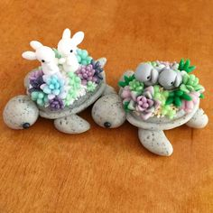 "3,489 Likes, 49 Comments - Janice M. (@claybiecharms) on Instagram: ""Good morning everyone! Here we have two bunny succulent turtles in their new home! This picture…"""