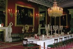The magnificent Great Dining Room at Chatsworth. Queen Victoria dined here when she was a 13 year old princess in 1832.