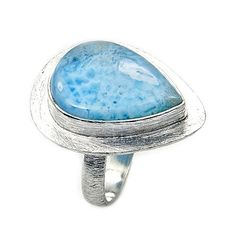 'Blue Drop' Sterling Silver Genuine Dominican Larimar Ring, Size 8.75