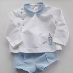 Vintage Baby Boy Top & Short Set  Blue/ white  Toy by WillowsRoom,