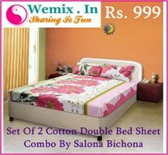 Set Of 2 Cotton Double Bed Sheet Combo By Salona Bichona Rs. 999 Set Of 2 Cotton Double Bed Sheet Combo By Salona Bichona Rs. 999