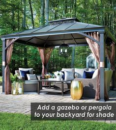 Add a gazebo or pergola to your backyard this summer for shade from scorching sun rays or downpour.