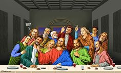 Selfie: Ilustrações satíricas de figuras religiosas tirando selfies ~ World Notícias