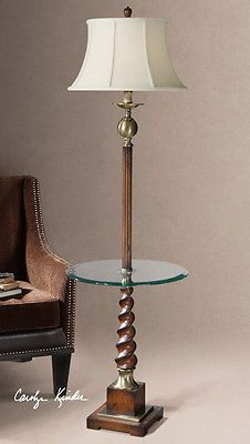 Myron Twist Wood Base End Table Lamp with Linen Shade by Designer Carolyn Kinder
