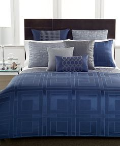 Hotel Collection Quadre Blue Coverlet Collection, Only at Macy's - Bedding Collections - Bed & Bath - Macy's Blue Comforter, King Comforter, Comforter Sets, Queen Duvet, Royal Blue Bedding, Grey Bedding, Bedroom Bed, Master Bedroom, Bedroom Decor
