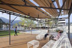 釜石大町商业休闲庭院 Kamaishi Omachi Plaza by studio on site Urban Landscape, Landscape Design, Wall Seating, Relaxing Places, Central City, Outdoor Furniture, Outdoor Decor, Lawn, Swimming Pools