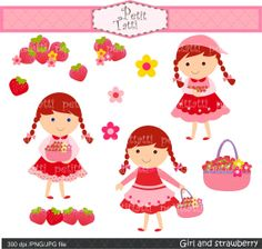 girls clip art , girl and strawberry , Digital clip art  for all use, strawberry girl clip art, instant download girl clip art