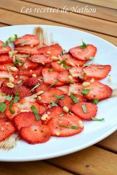 Les recettes de Nathou: Carpaccio de fraises au basilic et balsamique