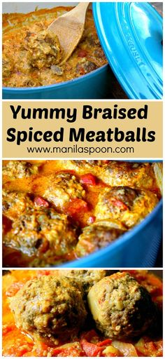 Perfectly spiced and slowly simmered in a creamy tomato curry sauce is this delicious braised meatballs. Slow Cooker Recipes, Beef Recipes, Chicken Recipes, Cooking Recipes, Healthy Recipes, Recipies, Recipes Using Meatballs, Meatball Recipes, Spicy Meatballs
