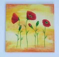 Coquelicots rouges, tableau floral moderne, peinture acrylique : Peintures par kikry-art