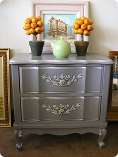 gray and silver nightstand creative.ly Metallic Paint DIY Tutorial