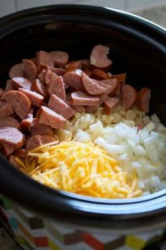 Crockpot smoked sausage and hash brown casserole