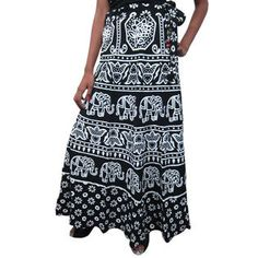 Mogulinterior Womens Wrap Around Skirt Cotton Black White Elephant Printed Bohemian Wrap skirts