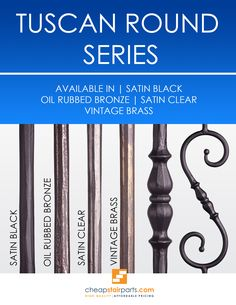 The Tuscan Round Hammered balusters are hand hammered into a round shape and no two balusters will look alike. No other supplier has a round hammered product. Hammered products provide a very Old World look and go great in Traditional style homes. Iron Spindle Staircase, Wrought Iron Spindles, Iron Balusters, Railing Design, Stair Railing, Railings, Front Stairs, Traditional Style Homes, Diy Ideas