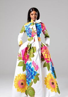 (Pre-Order, Ships in Weeks) African Print White Floral Pussy-bow Maxi Dress - Thalia African Maxi Dresses, African Attire, African Wear, African Style, African American Fashion, African Print Fashion, African Prints, Africa Fashion, Dashiki Dress