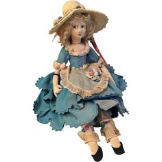 Lenci Peasant Girl Boudoir Doll with Gish Face Measuring 24""